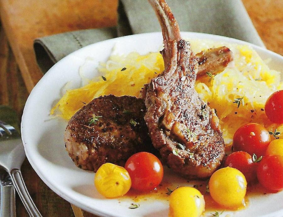 食谱:柠檬香草羊排和意大利面南瓜图像
