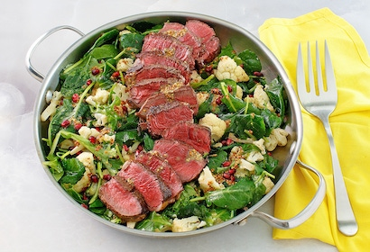 Beef Tenderloin with Roasted Cauliflower Pomegranate Salad FINAL07