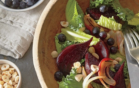Blueberry and Roasted Beet Kale Salad horizontal