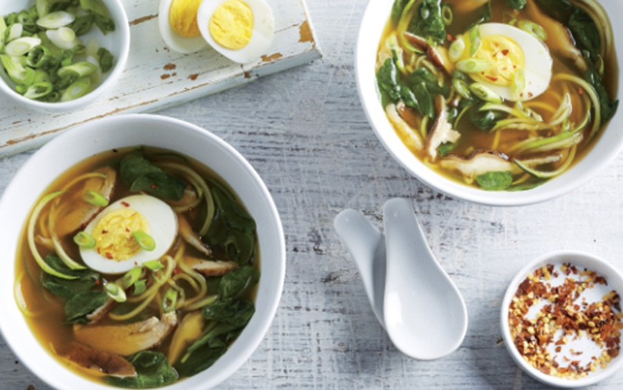 Recipe: Spicy Chicken and Mushroom Ramen with Zoodles image