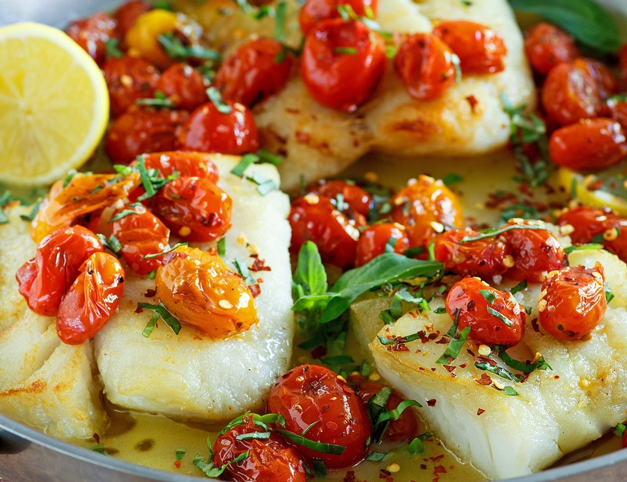 Recipe: Pan Seared Cod with Tomato Basil Sauce image