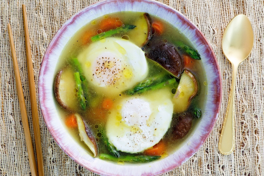 Recipe: Paleo Poached Eggs in Chicken Broth with Mixed Vegetables image