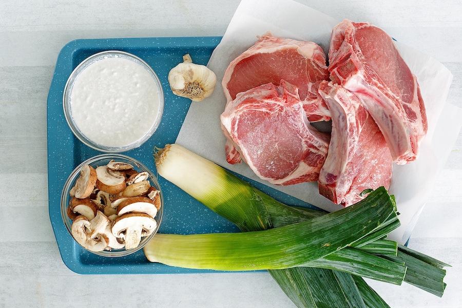 Recipe: One-Pan Pork Chops with Mushrooms & Leek Cream Sauce image