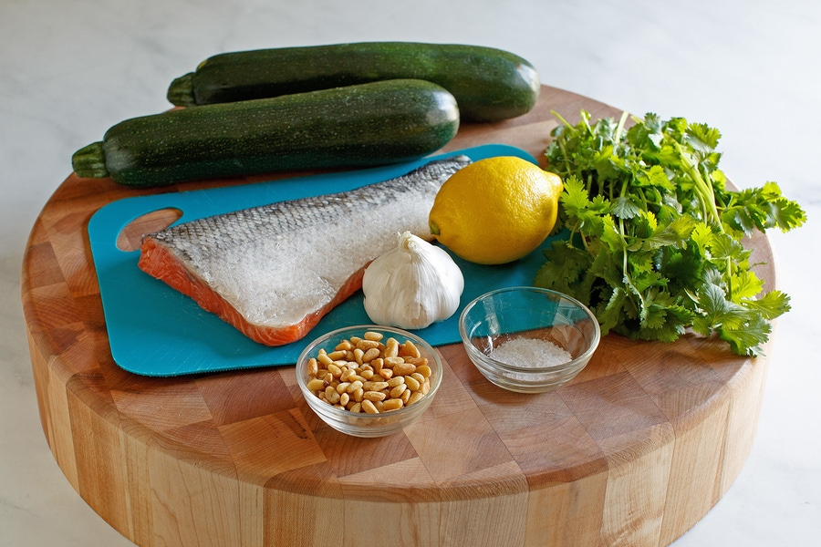 Recipe: Salmon with Cilantro Pine Nut Sauce and Creamy Zoodles image