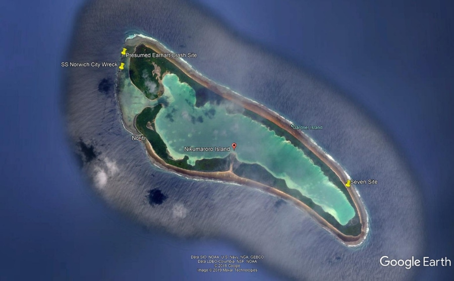 Figure 4. Map of Nikumaroro Island (formerly known as Gardner Island)