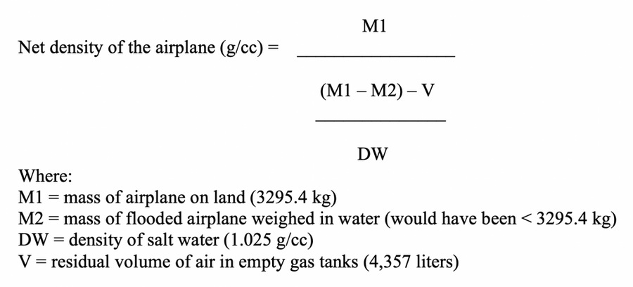 Equation 1. The estimated density of the Lockheed Electra 10 E Special, NR16020 as the cabin is either free of seawater or flooded with seawater.