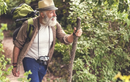 Older man hiking