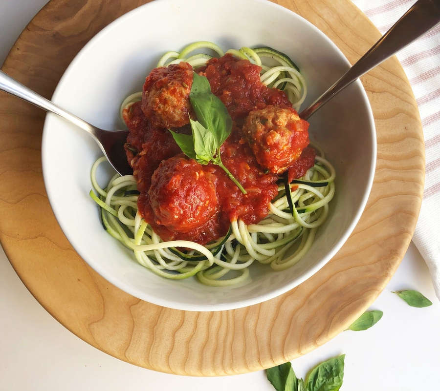 Zoodles with Turkey Meatballs image